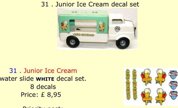 31 . Tri-ang Junior Ice Cream decal set